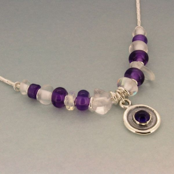 Amethyst necklace silver chain with rock crystal and rainbow crystal